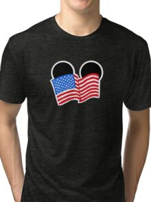 American Flag Ears Tri-blend T-Shirt