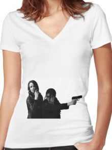 "Person of Interest ""Root & Shaw""  Women's Fitted V-Neck T-Shirt"