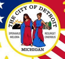 Detroit City Flag - Revival Pride Motor Car Bumper Sticker Shirt Sticker