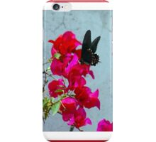 black butterfly on red flowers iPhone Case/Skin