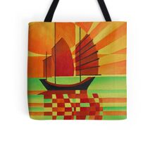 Junk on Sea of Green Cubist Abstract Tote Bag