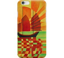 Junk on Sea of Green Cubist Abstract iPhone Case/Skin
