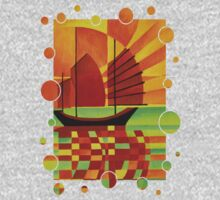 Junk on Sea of Green Cubist Abstract Kids Clothes