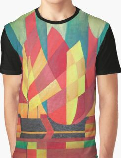 Happy Father's Day Cubist Abstract of Junk Sails and Ocean Skies Graphic T-Shirt
