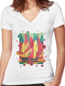 Happy Father's Day Cubist Abstract of Junk Sails and Ocean Skies Women's Fitted V-Neck T-Shirt