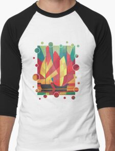Happy Father's Day Cubist Abstract of Junk Sails and Ocean Skies Men's Baseball ¾ T-Shirt