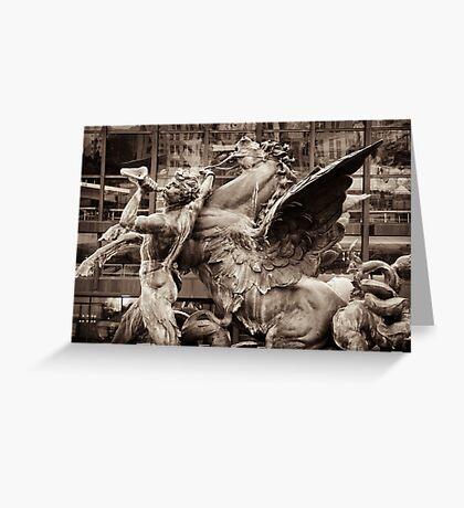 mythological fountain scene, triton & seahorse (hippocamp) Greeting Card