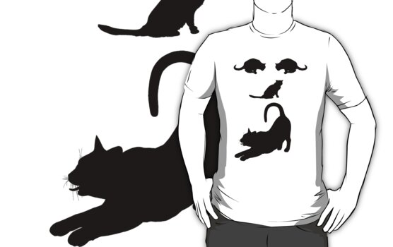 Funny Cats Face - Cool Cat's T-Shirt  by Denis Marsili