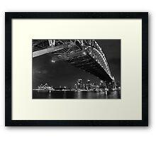 Sydney Harbour Bridge and Opear House B&W Framed Print