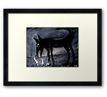 children with the black dog Framed Print