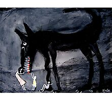children with the black dog Photographic Print