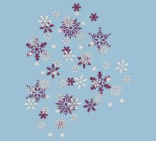 Pink and White Snowflakes With Transparent Background One Piece - Short Sleeve