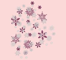Pink and White Snowflakes With Transparent Background Kids Tee