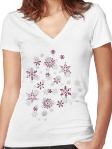 Pink and White Snowflakes With Transparent Background Women's Fitted V-Neck T-Shirt