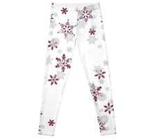 Pink and White Snowflakes With Transparent Background Leggings