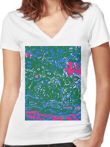 blue and green strata Women's Fitted V-Neck T-Shirt