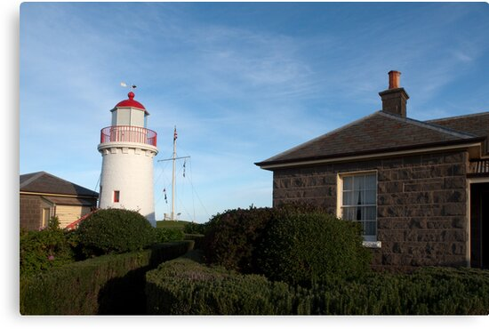Lighthouse and the Keeper's Cottage by John Sharp
