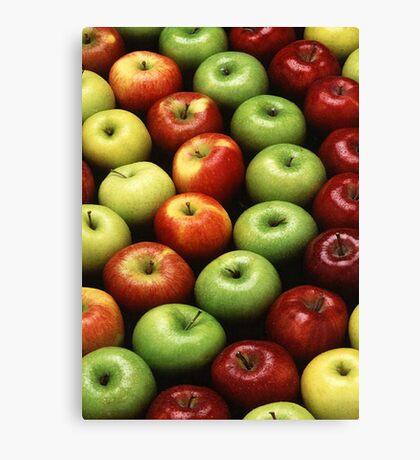 Red and Green Apples Displayed In A Pattern Canvas Print