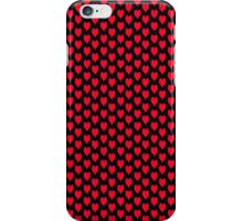 Polka dot love hearts red on black iPhone Case/Skin