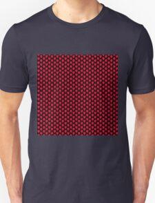 Polka dot love hearts red on black T-Shirt