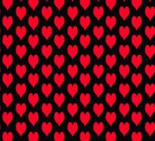 Polka dot love hearts red on black Sticker