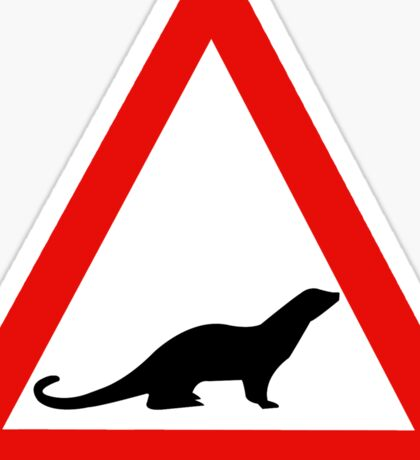 Caution Otters I, Traffic Sign, UK Sticker