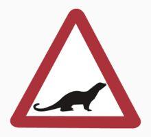 Caution Otters I, Traffic Sign, UK Kids Tee
