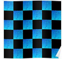 BOLD BLUE AND BLACK CHECKERED DESIGN Poster