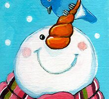 Snowman & Bluebird by Lisa Marie Robinson