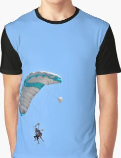 Tandem paragliding Instructor and trainee tied together during the jump.  Graphic T-Shirt