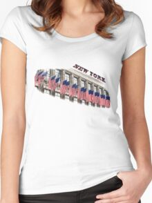 Row of American flags Women's Fitted Scoop T-Shirt