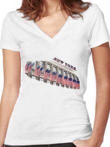 Row of American flags Women's Fitted V-Neck T-Shirt