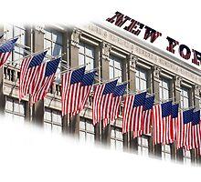Row of American flags by Patrizio Martorana