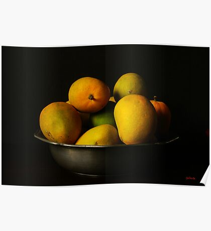 Mangoes in Pewter Bowl Poster