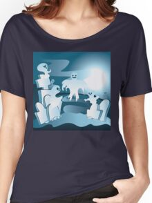 Cartoon Cemetery with Ghosts 2 Women's Relaxed Fit T-Shirt