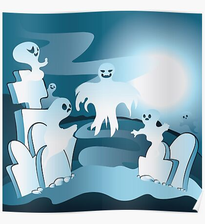 Cartoon Cemetery with Ghosts 2 Poster