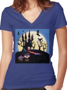 Haunted Halloween Castle 2 Women's Fitted V-Neck T-Shirt
