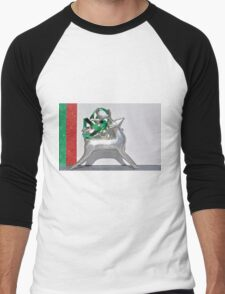 Christmas:  Holiday Stripes and a Reindeer Men's Baseball ¾ T-Shirt