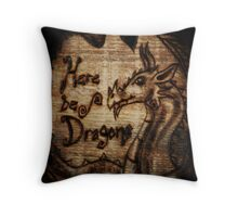 Here be Dragons! Throw Pillow