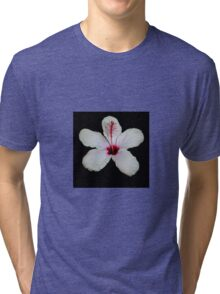 White Hibiscus Isolated on Black Background Tri-blend T-Shirt