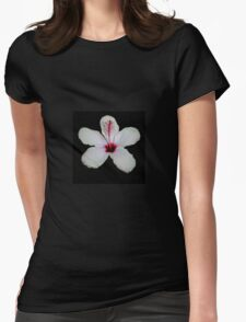 White Hibiscus Isolated on Black Background T-Shirt