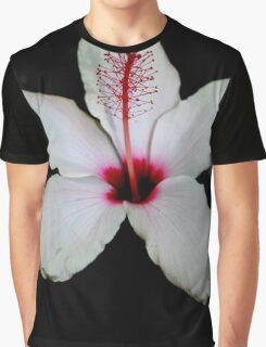 White Hibiscus Isolated on Black Background Graphic T-Shirt