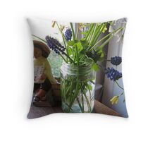 "Jar of ""weeds"" and figurine Throw Pillow"