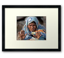 Weathered Hands And Face Framed Print