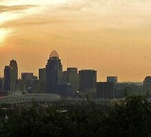 Sunset over Cincinnati Panorama (See full image) by Ron Russell