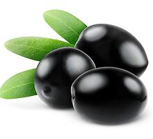 Three black olives with leaves by 6hands