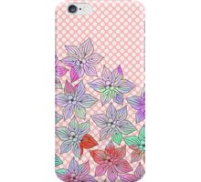 Chic trendy pink teal watercolor floral polka dots  iPhone Case/Skin