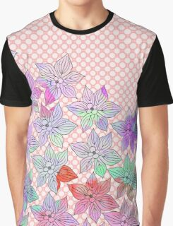 Chic trendy pink teal watercolor floral polka dots  Graphic T-Shirt