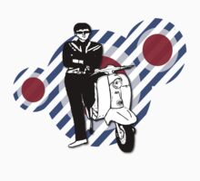 retro scooter boy with Vintage Scooter Kids Tee
