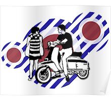 Retro style scooter boy and girl with vintage scooter on Poster